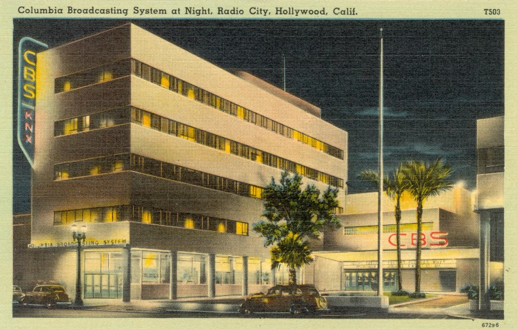 Columbia Broadcasting System at Night, Radio City, Hollywood, California. Postcard: tichnor art company, L.A. (from the archive of leo Verswijver)