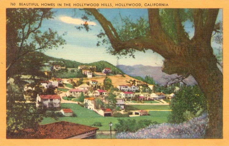 """On the majestic slopes of the Hollywood hills furrowed with countless canyons, many celebrities have built their beautiful homes overlooking Hollywood and Los Angeles. Postcard: Longshaw Card Co., Los Angeles (from the archive of Leo Verswijver)"