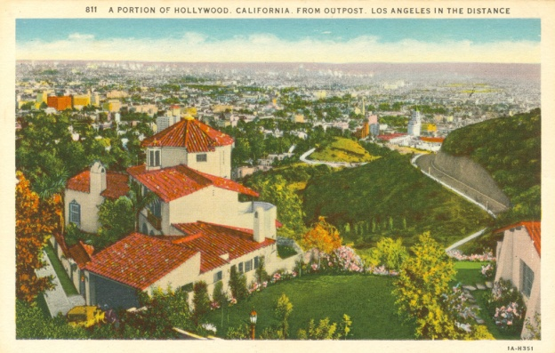 A portion of Hollywood. Postcard: Western Publishing and Novelty Co, Los Angeles (from the archive of Leo Verswijver)