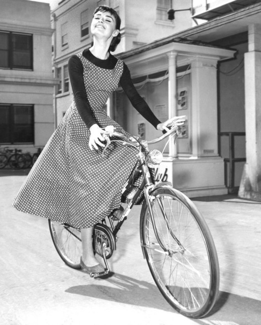 "Audrey Hepburn on the set of ""Sabrina"" (1954). Photograph: Marvin Paige Motion Picture and Television Archive"