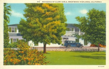 Residence of Clark Gable (1901-1960). Postcard: Western Publishing and Novelty Co., Los Angeles (from the archive of Leo Verswijver)