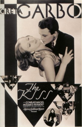 """The Kiss"" (1929): poster with Greta Garbo and Conrad Nagel"